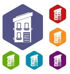 Two-storey house icons set vector