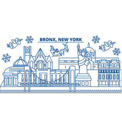usa new york bronx winter city skyline merry vector image