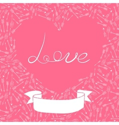 Valentines Day card with hearts and arrows vector image