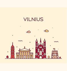 vilnius skyline lithuania trendy line style vector image
