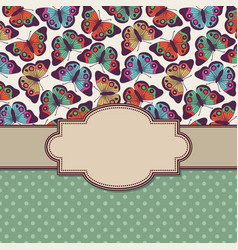 vintage frame with butterflies and text place vector image