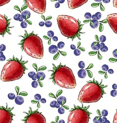 Watercolor seamless pattern with strawberry vector