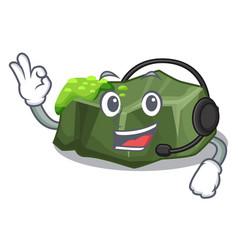 With headphone green rock moss isolated on cartoon vector
