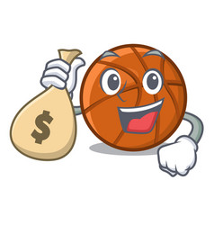 With money bag basket ball in character shape vector