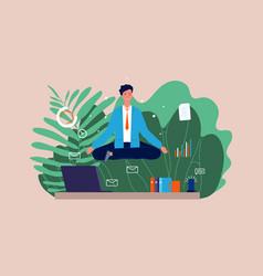 Work meditation stressful businessman yoga vector