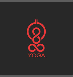 Yoga pose logo silhouette abstract human body vector