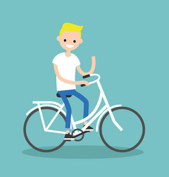Young blond boy riding a bike and waving his hand vector