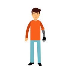 young man with prosthetic arm colorful vector image
