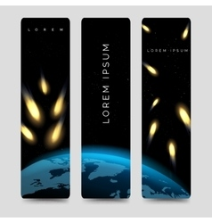 Bookmarks set with meteor shower vector image vector image