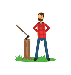 cartoon woodcutter character standing on green vector image vector image