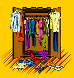 clothes in a wardrobe comic book style vector image vector image