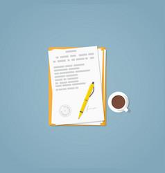 flat paper document vector image