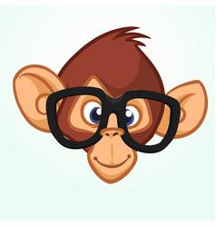 happy cartoon monkey head wearing glasses vector image vector image