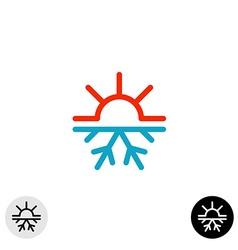 Hot and cold symbol Sun and snowflake all season vector image vector image