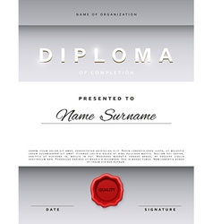 Template certificate design in silver color vector image vector image