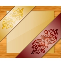 Wood background with ribbons and paper vector image