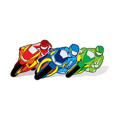 3 motorcycle racing team graphic vector image vector image