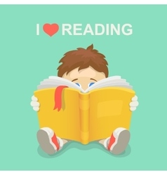 Boy with a book I love reading vector image