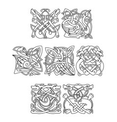 Celtic animals and birds with tribal ornament vector image