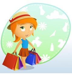 cute girl shopping vector image vector image