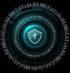 cyber security shield lock vector image vector image