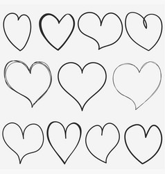 doodle hearts collection for for valentine hand vector image