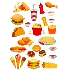 Fast Food snacks and drinks icons vector image vector image