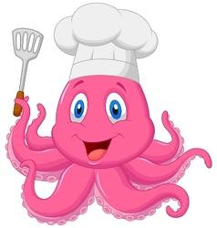 Octopus chef cartoon holding spatula vector image vector image