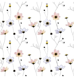 Delicate flowers seamless pattern on white vector image