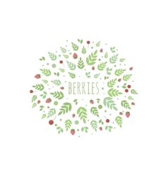 Frame with leaves and berries template for vector image