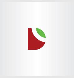 letter d logo leaf green red symbol vector image