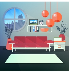 Modern interior of living room with book shelves vector