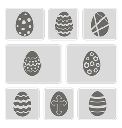 monochrome icons with Easter eggs vector image vector image