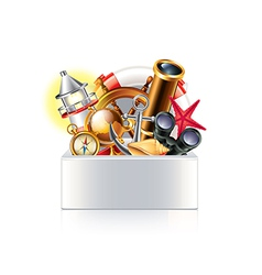 nautical objects box isolated vector image