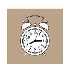 Retro style analog alarm clock sketch vector