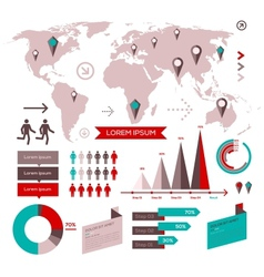 Set of infographic elements with world map vector image