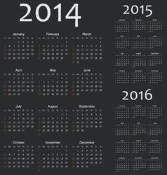 Simple european 2014 2015 2016 year calendars vector image