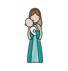 virgin mary holding baby jesus catholicism saint vector image vector image