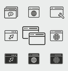browser icons set vector image vector image
