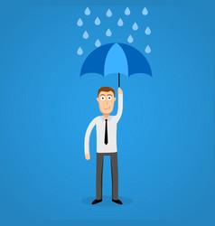 business man in rain with umbrella vector image