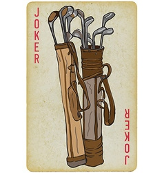 Playing Card Joker - Golf Clubs Bag Freehand vector image vector image