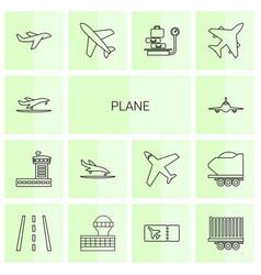 14 plane icons vector image