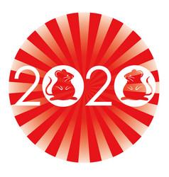 2020 year rat zodiac symbol vector image