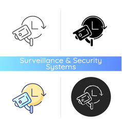 24 7 protection with security video system icon vector