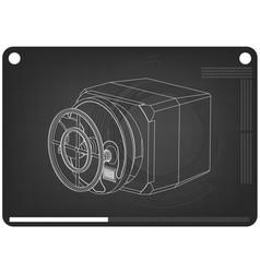 3d model of the safe on a black vector image