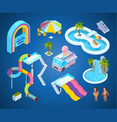 3d pictures of water park attractions vector image