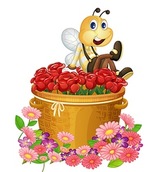 A basket of red roses with a big bee vector image