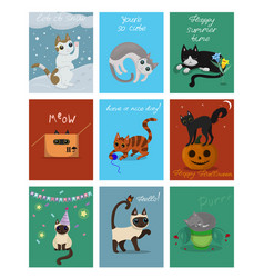 a large set nine cards with kittens postcards vector image