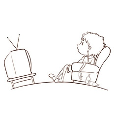 A plain sketch of a boy watching TV vector