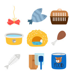 accessories and food for cats icons set vector image